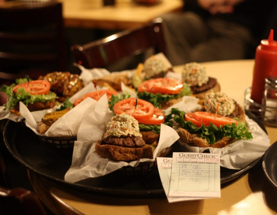 A collection of Olive Burger sandwiches